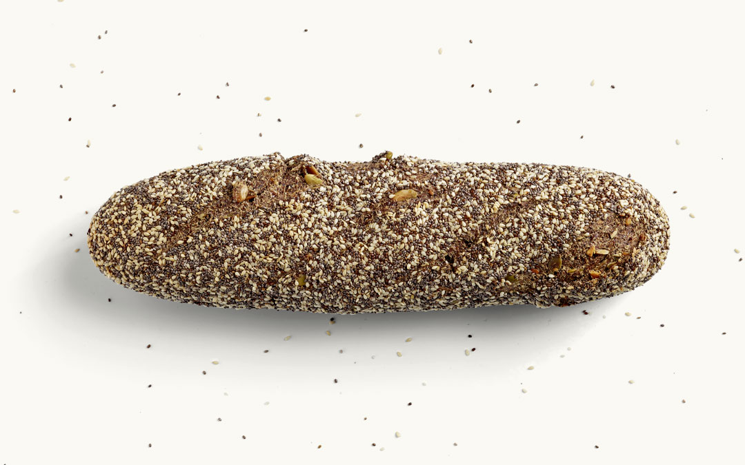 Ein MEHL-OHNE Baguette Sesam-Chia